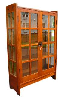 SUPERB Antique GUSTAV STICKLEY China Cabinet MISSION Oak w238