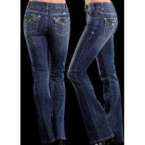 NEW Rock & Roll Cowgirl Diamond Pocket Jeans W1 2373