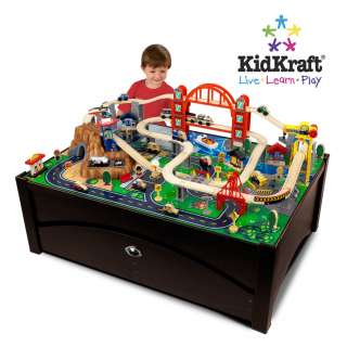 NEW 100 PIECE WOOD TRAIN SET TABLE w/ TRUNDLE ACTIVITY TRACKS PLAY TOY
