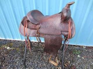 Vintage TEX TAN Brahma Brand WESTERN Ranch SADDLE 15 Seat |