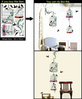BIRD&CAGE ART DECO MURAL WALL PAPER STICKER DECALS #075