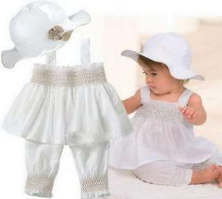 Girl Baby Ruffle Top+Pants+Hat Set 0 3Y Cotton 3 Pcs Outfit Clothes
