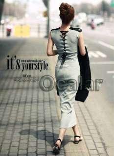 NEW Elegant Grey Women Lady Slim Long Full Length Dress Skirt Dress